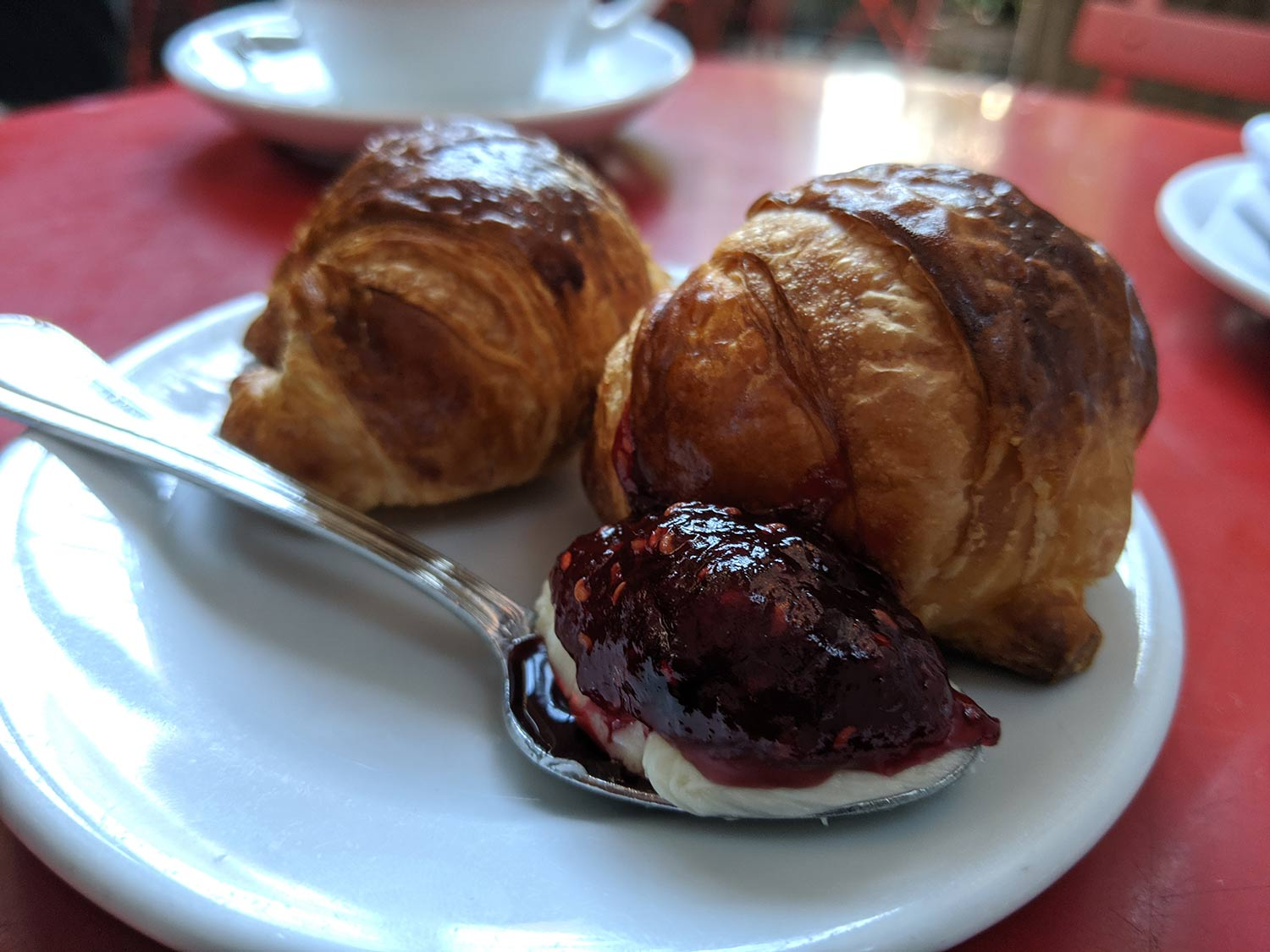 Bruvette Croissants with butter and raspberry jam