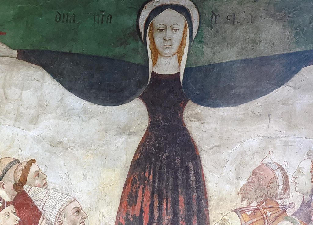 The Virgin Mary adorning the walls at the Chateau Fenis in Italy.